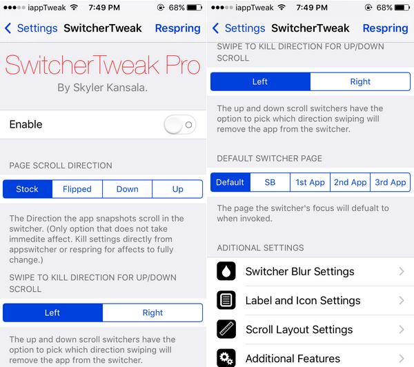 SwitcherTweak Pro-Settings-iapptweak