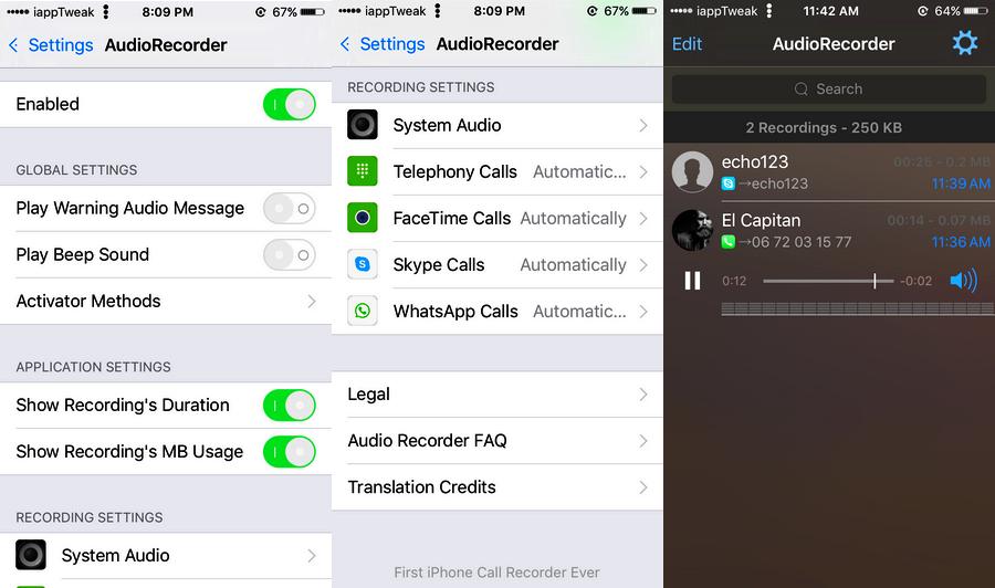AudioRecorder 2 (iOS 8 & 9)-cydia-tweak-settings-iapptweak